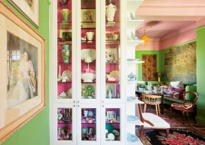 apartment painted in greens and pinks