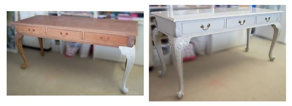 wooden desk unpainted before and antique white after